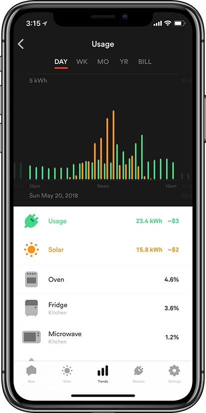 Sense energy app daily trends screen